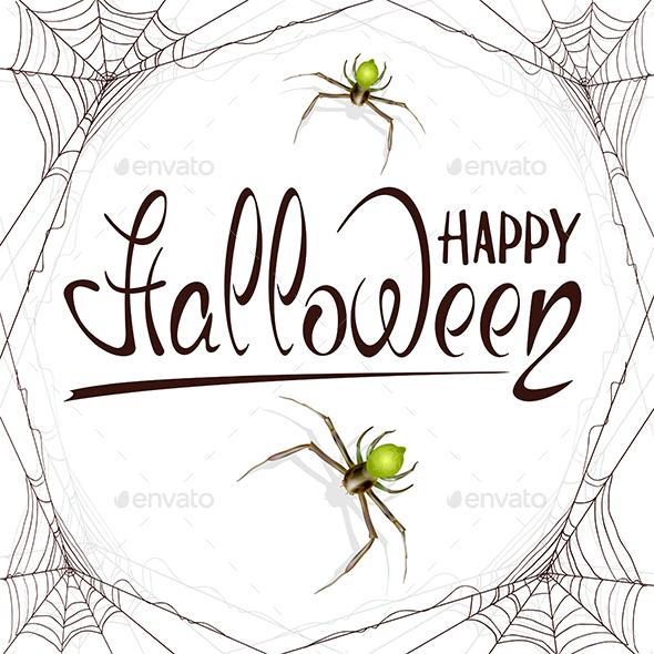 Text Happy Halloween in Spiderweb