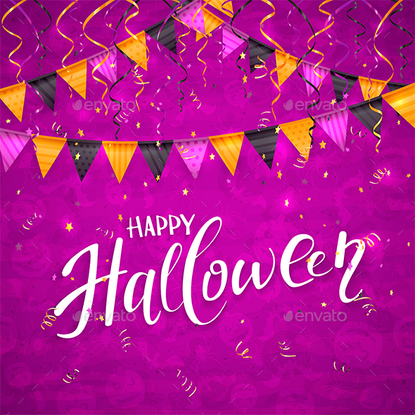 Purple Halloween Background with Pennants and Streamers
