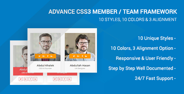 Advance CSS3 Member/Team Framework