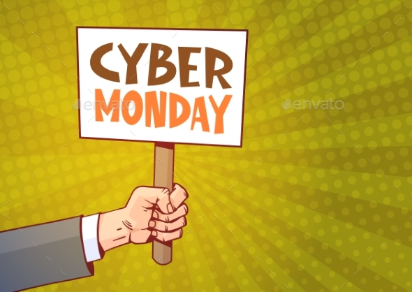 Hand Holding Banner With Text Cyber Monday