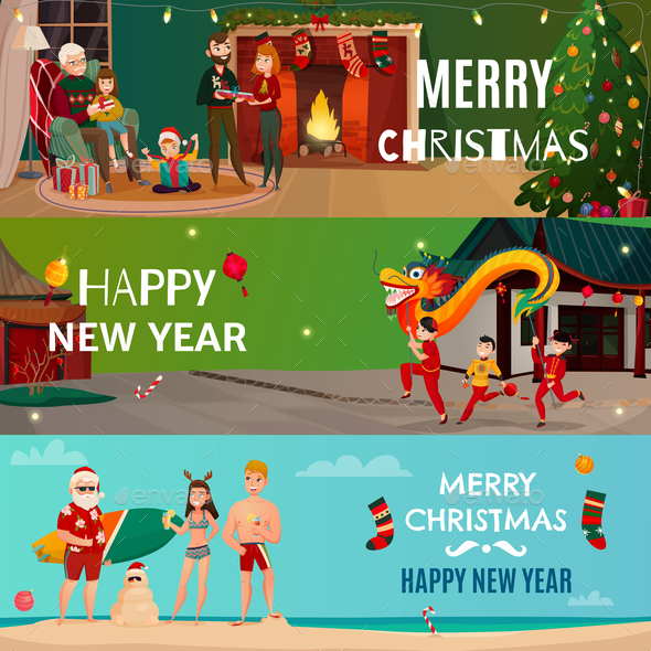 New Year And Christmas Banners