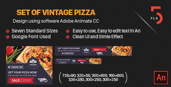 Set of Vintage Pizza Banner HTML - Software Adobe Animate CC