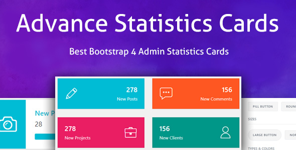 Advance Statistics Cards - Bootstrap 4 Admin Statistics Cards Layout