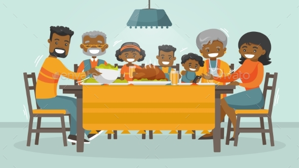 Family Celebrating Thanksgiving Holiday Card