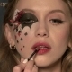 Beautiful Sexy Lady Doing Makeup Before the Holiday of Halloween - VideoHive Item for Sale