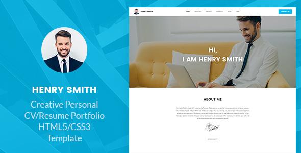 Henry Smith - Creative Personal CV/Resume Portfolio HTML5 Template