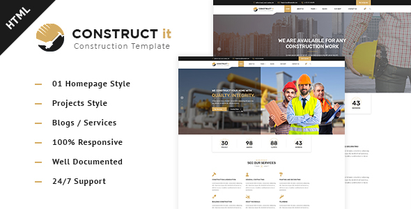 Construct It - Factory / Industrial / BuildersHtml Template