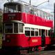 Vintage Electric Tram Departing