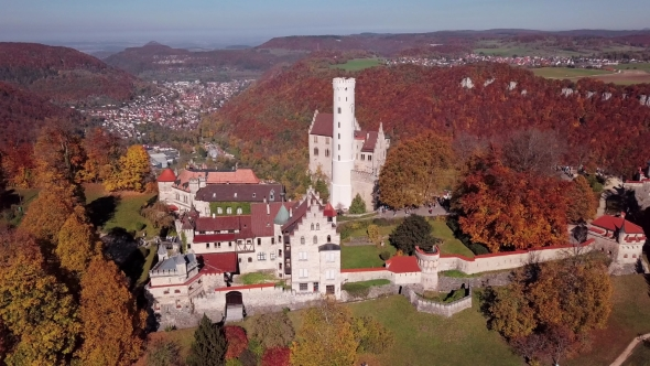 Flight Around Lichtenstein Castle, Germany.