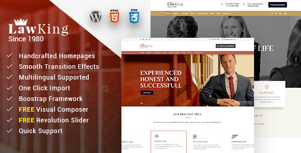 Lawking - Lawyer and Attorney Responsive WordPress Theme