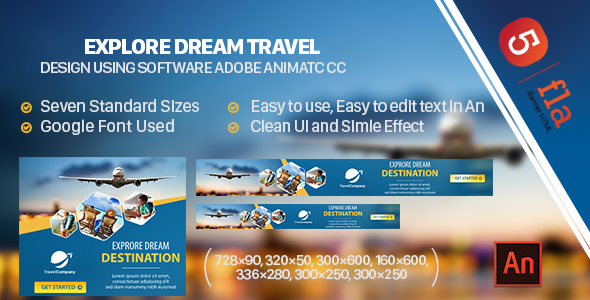 Explore Dream Travel Banner Ad HTML5 (Animate CC)