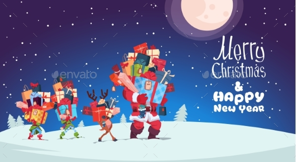 Happy New Year Card With Elves, Reindeer And Santa