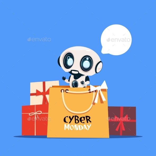 Modern Robot Holding Shopping Bags