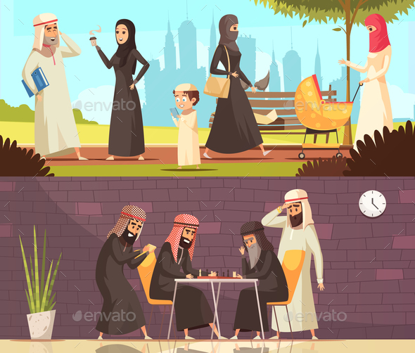Arabs Work Family Banners Set