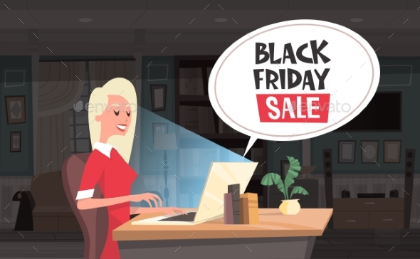 Black Friday Sale Chat Bubble Over Woman