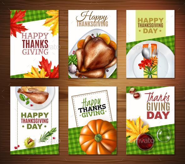 Realistic Turkey Thanksgiving Day Banner Set