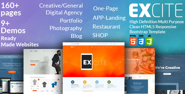 Excite - High Definition Multi-Purpose Clean HTML5 Responsive Bootstrap Template
