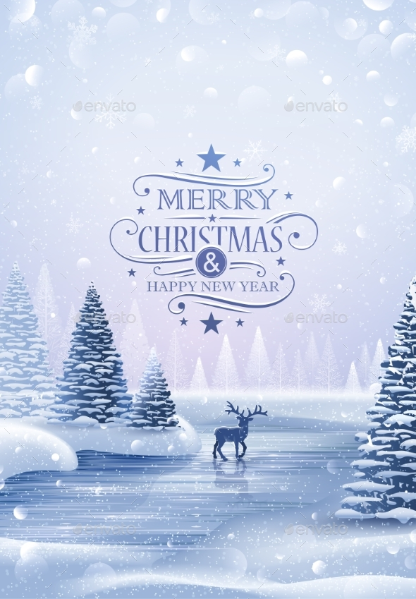 Christmas Card with Reindeer and Snowflakes
