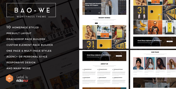 Baowe - Responsive One/Multi Page Portfolio WordPress Theme