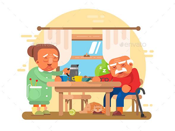 Elderly Grandparents Breakfast Flat