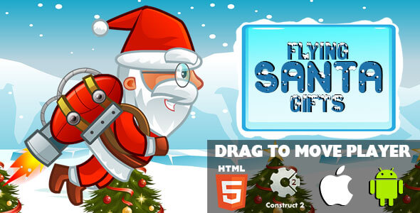 Flying Santa Gifts - HTML5 Game (CAPX)