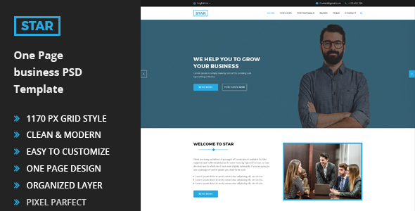 Star - One Page Business PSD Template