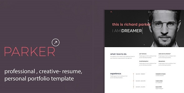 Download Parker | Personal Portfolio /CV / Resume Template Nulled