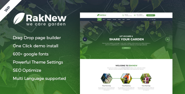 RakNew - Gardening and Landscaping WordPress Theme