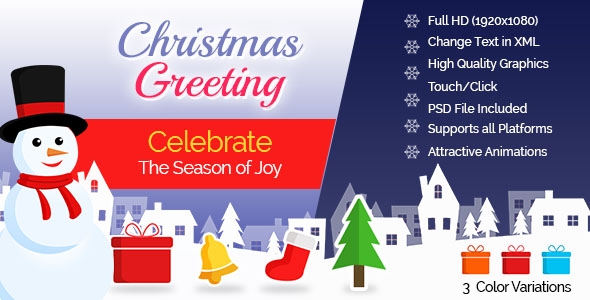Christmas Greeting Card - 3 Color Variations