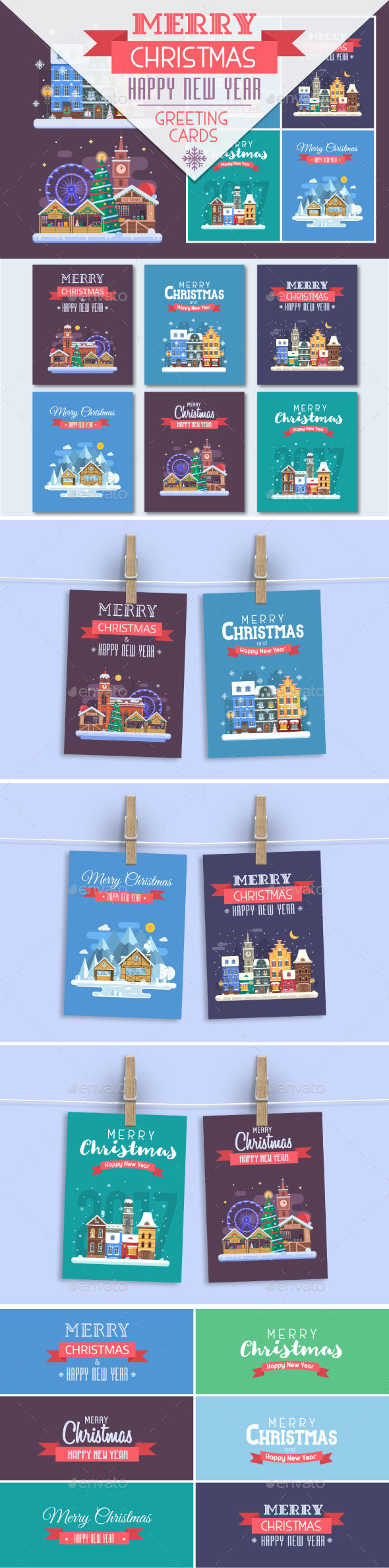 New Year and Christmas Cards with Europe Cities