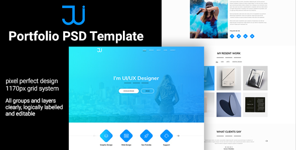 Download Jui Personal Portfolio PSD Template Nulled