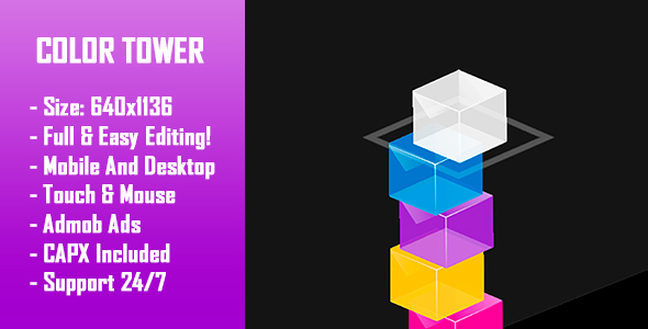 Color Tower - gra HTML5 + wersja mobilna! (Construct 2 / Construct 3 / CAPX)