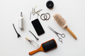 smartphone, scissors, brushes and other hair tools - PhotoDune Item for Sale
