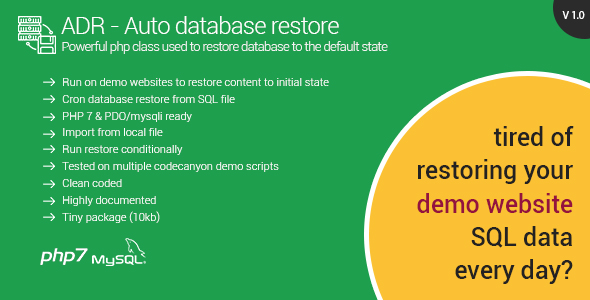 Automatic Database Restore - Restore content for your demo websites