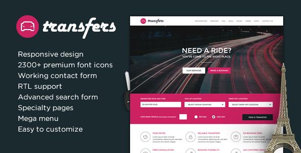 Transfery - szablon HTML transportu i wynajmu samochodu