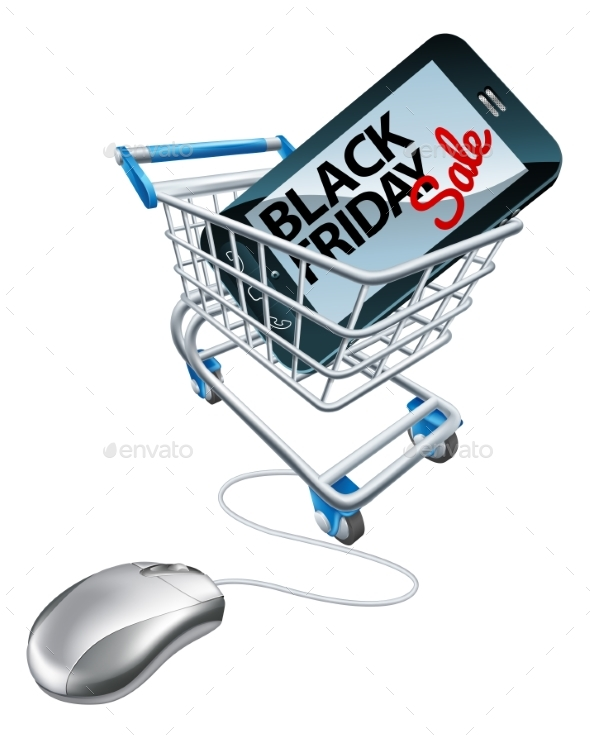 Black Friday Sale Phone Mouse Trolley Sign