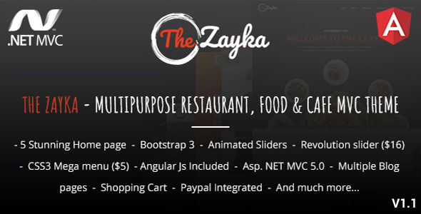 The Zayka – Multipurpose Restaurant, Food & Cafe MVC Theme