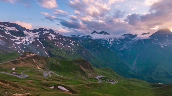 Amazing Sunset on the Top of Grossglockner Pass