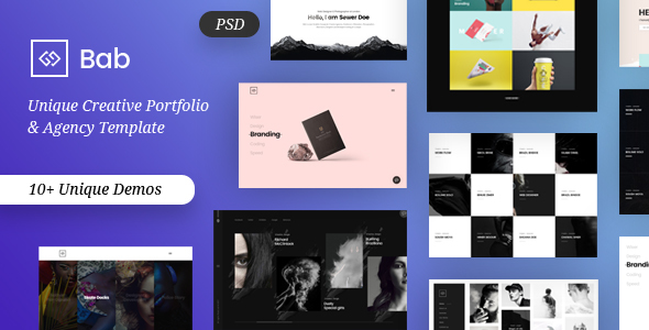 BAB - Creative Minimal Portfolio & Agency PSD Template