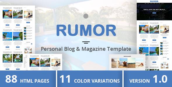 RUMOR – Personal Blog & Magazine Template