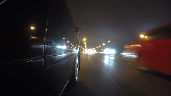 Fast City Drive Night Road