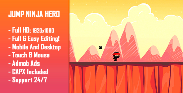 Jump Ninja Hero - HTML5 Game + Mobile Version! (Construct 2 / Construct 3 / CAPX) Download