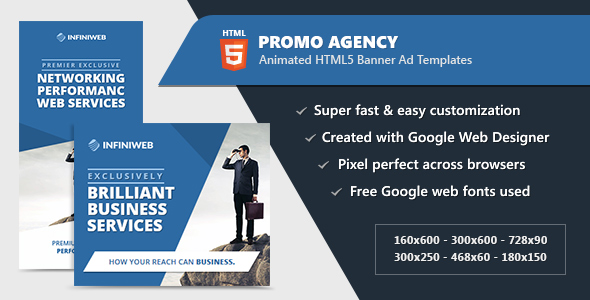 HTML5 Animated Banner Ads - Promo Agency (GWD) Download