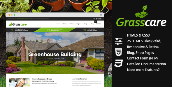 GrassCare - Gardening & Lawn Responsive HTML5