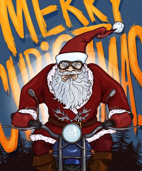 Vector Cartoon Christmas Postcard - Santa Claus