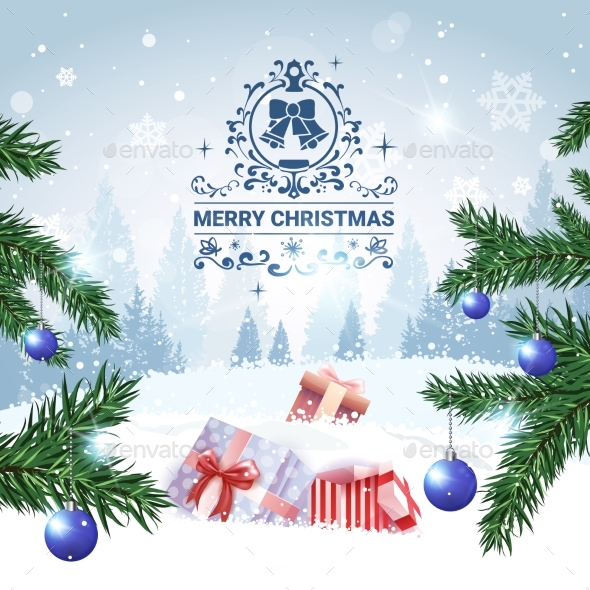Merry Christmas Background Winter Forest Landscape