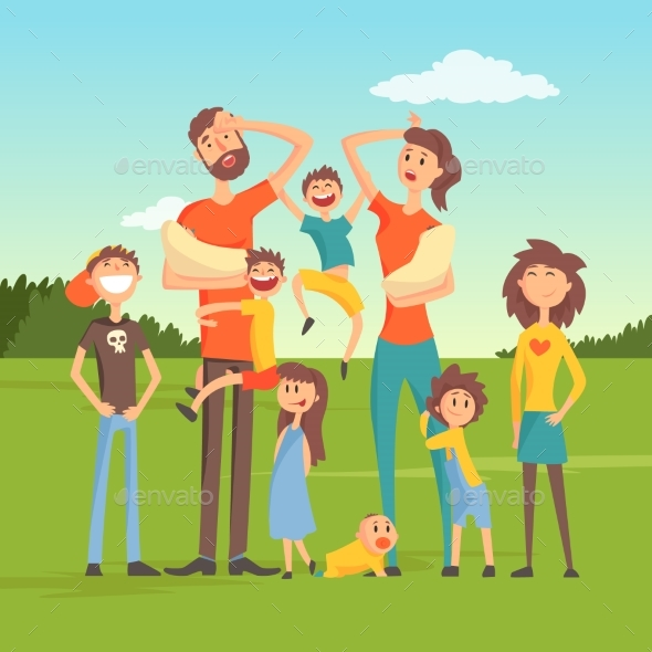 Tired Parents with Many Children on Nature