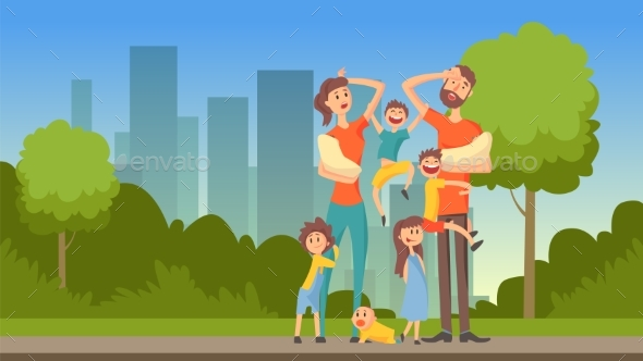 Happy Tired Parents with Many Children on City