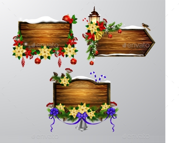 Vector Wooden Christmas Board