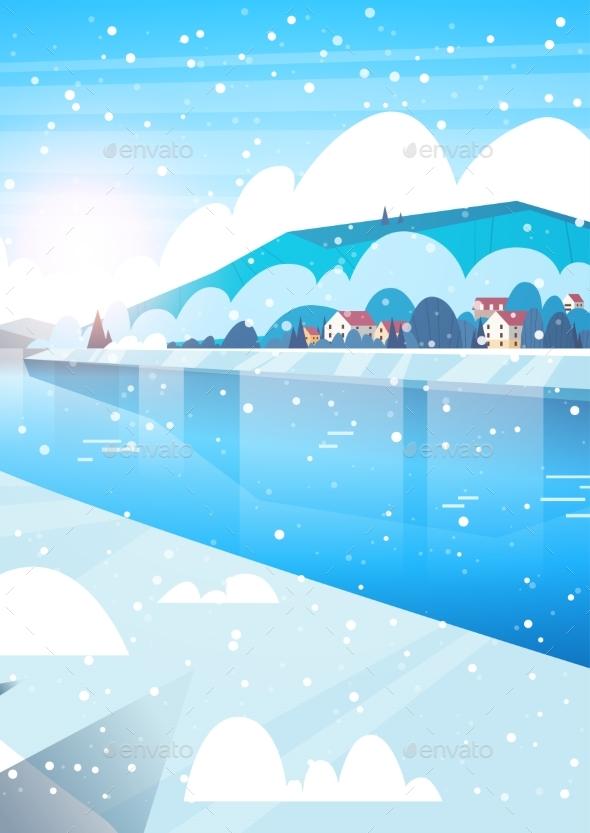 Winter Nature Landscape Houses On Frozen River